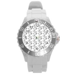 White Music Notes Round Plastic Sport Watch (l)