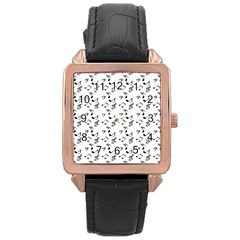 White Music Notes Rose Gold Leather Watch