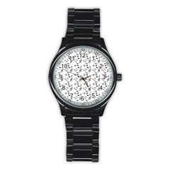 White Music Notes Stainless Steel Round Watch