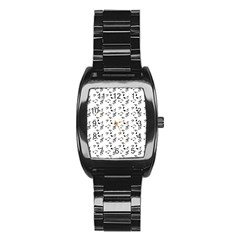 White Music Notes Stainless Steel Barrel Watch