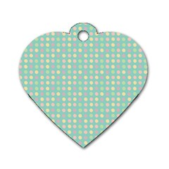 Pink Peach Green Eggs On Seafoam Dog Tag Heart (one Side)