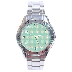 Pink Peach Green Eggs On Seafoam Stainless Steel Analogue Watch