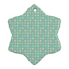 Pink Peach Green Eggs On Seafoam Snowflake Ornament (two Sides)