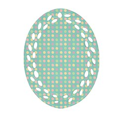 Pink Peach Green Eggs On Seafoam Oval Filigree Ornament (two Sides)