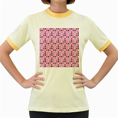 Grey Magenta Eggs On Pink Women s Fitted Ringer T Shirts