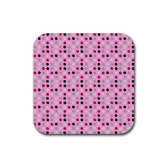 Grey Magenta Eggs On Pink Rubber Square Coaster (4 Pack)