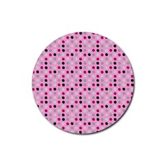 Grey Magenta Eggs On Pink Rubber Coaster (round)