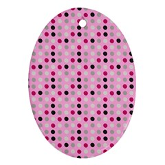 Grey Magenta Eggs On Pink Oval Ornament (two Sides)