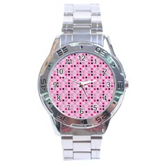 Grey Magenta Eggs On Pink Stainless Steel Analogue Watch