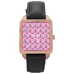 Grey Magenta Eggs On Pink Rose Gold Leather Watch