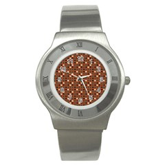 Grey Eggs On Russet Brown Stainless Steel Watch