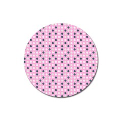 Teal White Eggs On Pink Magnet 3  (round)