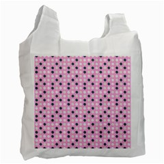 Teal White Eggs On Pink Recycle Bag (two Side)