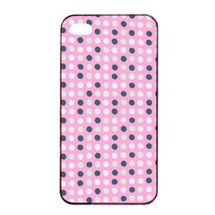 Teal White Eggs On Pink Apple Iphone 4/4s Seamless Case (black)