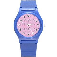 Teal White Eggs On Pink Round Plastic Sport Watch (s)