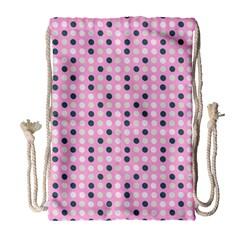 Teal White Eggs On Pink Drawstring Bag (large)