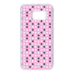 Teal White Eggs On Pink Samsung Galaxy S7 White Seamless Case