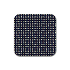 Beige Blue Cream Eggs On Grey Blue Rubber Square Coaster (4 Pack)