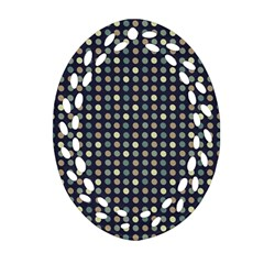 Beige Blue Cream Eggs On Grey Blue Oval Filigree Ornament (two Sides)