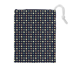 Beige Blue Cream Eggs On Grey Blue Drawstring Pouches (extra Large)