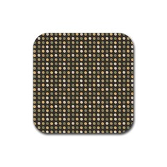 Grey Beige Eggs On Dark Grey Rubber Square Coaster (4 Pack)