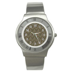 Grey Beige Eggs On Dark Grey Stainless Steel Watch