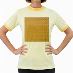 Grey Brown Eggs On Beige Women s Fitted Ringer T Shirts