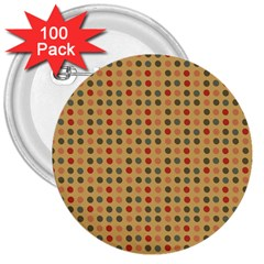 Grey Brown Eggs On Beige 3  Buttons (100 Pack)