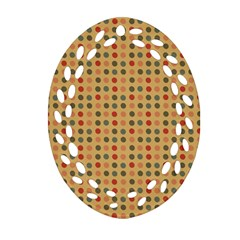 Grey Brown Eggs On Beige Ornament (oval Filigree)