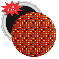 Yellow Black Grey Eggs On Red 3  Magnets (10 Pack)