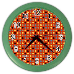 Yellow Black Grey Eggs On Red Color Wall Clocks