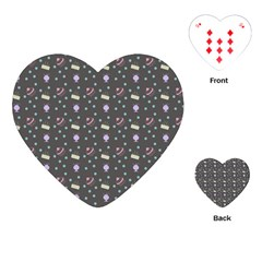 Cakes Yellow Pink Dot Sundaes Grey Playing Cards (heart)