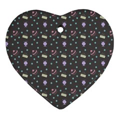 Cakes Yellow Pink Dot Sundaes Grey Heart Ornament (two Sides)