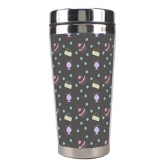 Cakes Yellow Pink Dot Sundaes Grey Stainless Steel Travel Tumblers