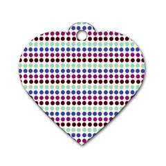 Multi White Dots Dog Tag Heart (one Side)