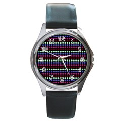 Multi Black Dots Round Metal Watch