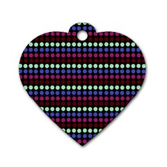 Multi Black Dots Dog Tag Heart (two Sides)