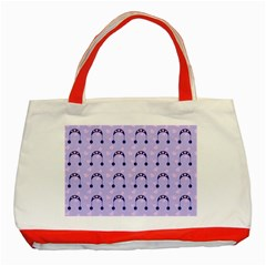 Winter Hat Snow Heart Lilac Blue Classic Tote Bag (red)