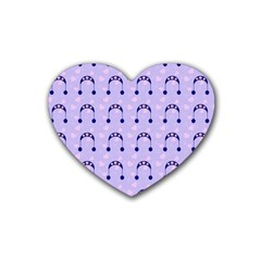 Winter Hat Snow Heart Lilac Blue Rubber Coaster (heart)
