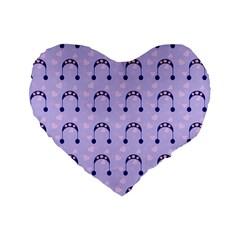 Winter Hat Snow Heart Lilac Blue Standard 16  Premium Heart Shape Cushions