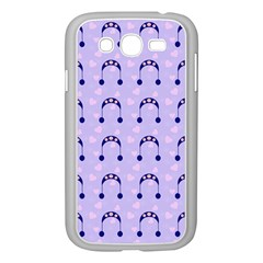 Winter Hat Snow Heart Lilac Blue Samsung Galaxy Grand Duos I9082 Case (white)