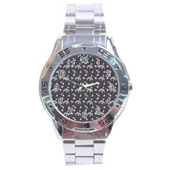 Winter Hat Hearts Snow Green Grey Stainless Steel Analogue Watch