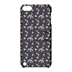 Winter Hat Hearts Snow Green Grey Apple Ipod Touch 5 Hardshell Case With Stand