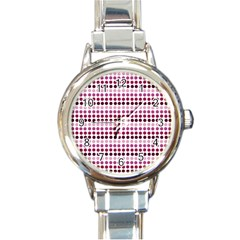 Pink Red Dots Round Italian Charm Watch