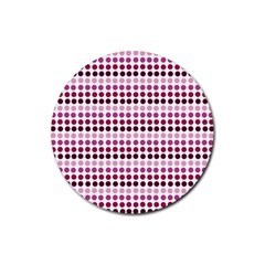 Pink Red Dots Rubber Coaster (round)