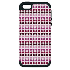 Pink Red Dots Apple Iphone 5 Hardshell Case (pc+silicone)