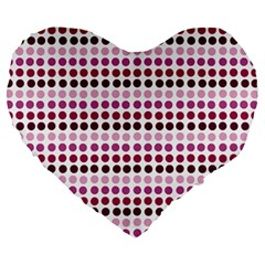 Pink Red Dots Large 19  Premium Heart Shape Cushions