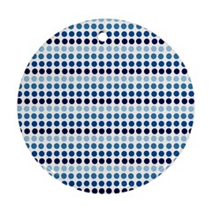 Blue Dots Round Ornament (two Sides)