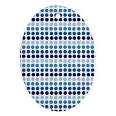 Blue Dots Oval Ornament (two Sides)