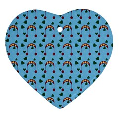 Winter Hat Red Green Hearts Snow Blue Ornament (heart)